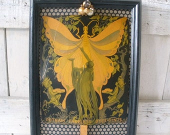 Vintage fairy fan advertising Art Nouveau moth art collage