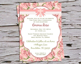 Shabby Chic  Baptism, First Communion Invitation - Vintage Roses - Pink and Green
