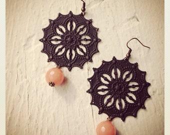 Black Snowflakes- Black Patina and Pach Jade Dangle Earrings
