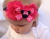Baby Headband - Minnie Mouse headband -  Hot Pink