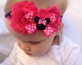 Baby Headband - Minnie Mouse headband -  Hot Pink