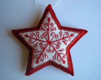 red embroidered felt star ornament