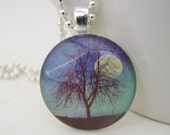 Shooting Star at Twilight Glass Tile Pendant with Free Necklace