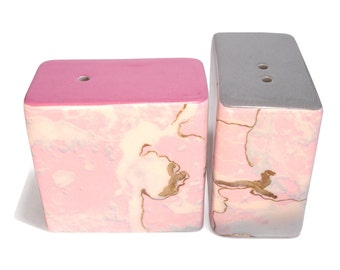 Dinky Modern Ceramic Salt & Pepper Pots / Shakers / Cellars (PinkWorld Marble Pink and Grey)
