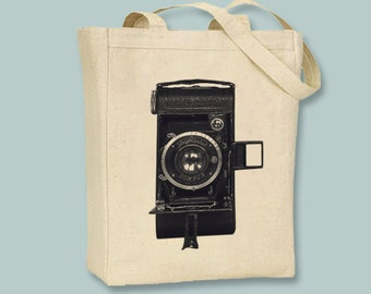 Vintage German Camera Image on Canvas Tote -  Selection of  sizes and Image colors available