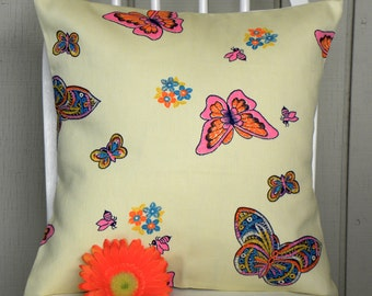 16 x 16 Pillow Cover - Vintage Cream Canvas Butterflies