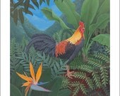 Kauai Rooster with Bird of Paradise, Small Giclee Print