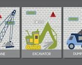 Truck and Crane, Children's Wall Art, Children's Art Print, Nursery Decor, Construction Decor- Set of three prints