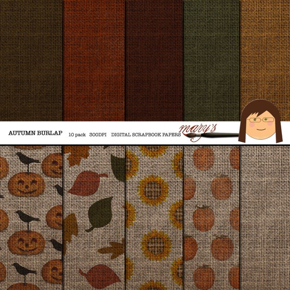 Autumn Burlap, 10 pack digital scrapbooking papers, 300 DPI, 12x12