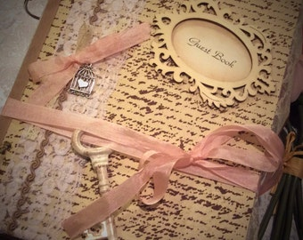 Vintage inspired wedding guest book