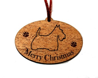 Scottish Terrier, Terrier, Scotty Dog, Wood Christmas Ornament