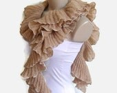 ruffle scarf, gift, Holiday Accessories, winter trends, fashion, 2014,for women, uniqu,camel