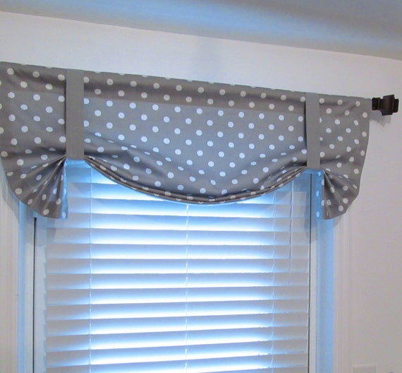 Items Similar To Tie Up Valance Lined Curtain Gray White