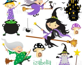 Witch Clipart, Magic Cauldron Clipart, Digital Graphics Wizard, Haunted House Graphics, Witch on Broomstick, Black Cat, Commercial Use OK