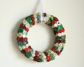Button Wreath Christmas wreath - made with red white and green buttons