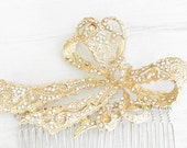 Handcrafted bridal hair comb. Gold crystals ribbon hair comb. wedding hairpiece. Bridal boutique jewelry. Vintage style wedding accessory