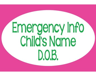 4 Emergency Car Seat Laminated and Waterproof Children's Tags - Custom