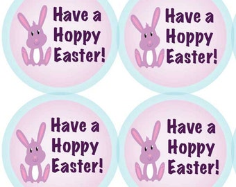 """Easter Bunny Stickers - 63 Custom Easter Gift Tags - """"Have a Hoppy Easter!"""""""