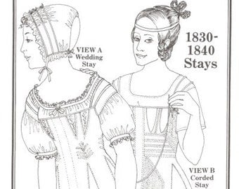 PP001 - Past Patterns #001, 1830s-1840s Wedding Stays and Corded Stays Sewing Pattern
