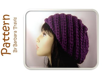 Knitting Pattern Spiral Chunky Slouch Beret H1011