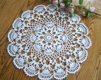 New Crocheted White Sea Shell Doily 16 Inch
