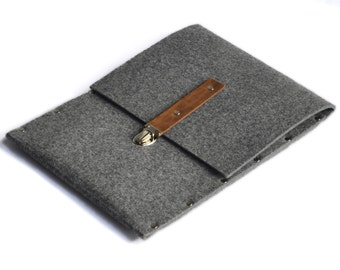 iPad Air Sleeve, Case, Clutch, Cover, Bag - grey felt briefcase features clasp with leather strap