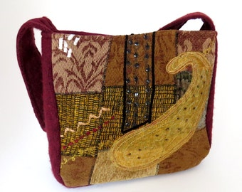 FELTED RED and Gold TAPESTRY Purse from upcycled woman's Designer Jacket and Felted Cranberry Sweate / Eco Friendly Gift #009