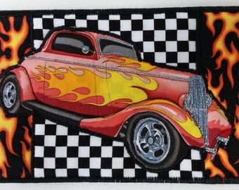 Quilted Fabric Postcard - Street Rod (Red)