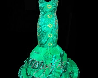 Emarald green cut lace trumpet prom formal dress (MKP1)