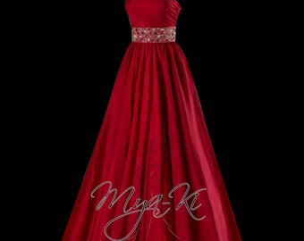 Strapless Red A-line floor length prom formal dress (MKP29)