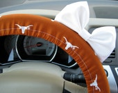 Steering Wheel Cover Bow, Texas Longhorns Steering Wheel Cover with Bow, Broncos, Lakers, Seminoles, OSU FSU, Cardinals, NC State BF11081