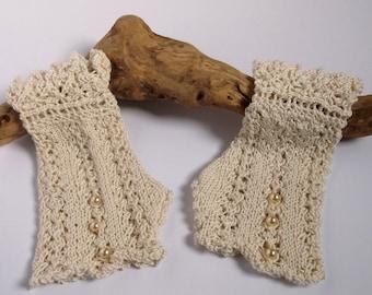 Women's or teenage hand knitted wedding lacy wristwarmers / fingerless gloves. Ivory