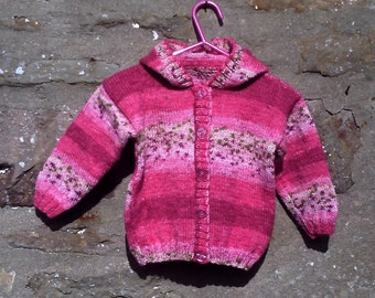 "Hand knitted baby girls pink hoodie cardigan / jacket. 20"" chest."