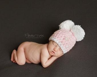 Newborn Pom Pom Hat, Newborn Photo Prop, Warm Winter Hat, Pink Pom Pom Hat, Snowflake Hat, Newborn Crochet Hat,  Newborn Girl Hat