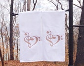 Set of 2 Treble Heart Hand Towel Music Heart Kitchen Towel Any Color Great Teacher Gift  Hostess Bridesmaid Wedding Gift