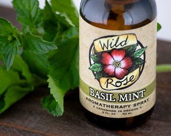 BASIL MINT - Organic Aromatherapy Spray - with Basil, Peppermint and Lemon - 60ml // 2oz