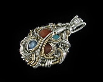 Handmade Silver Wire Wrapped Gemstone and Crystal Pendant