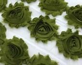 "Avacado Green Shabby Rose Trim 2.5"" Shabby Flowers Shabby Chiffon Flowers - Solid Shabby Chic Trim Wholesale Rosette trim 6cm 1 yard #708"