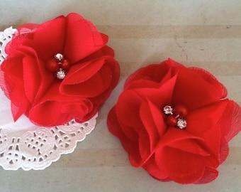 "Chiffon Flowers RED with rhinestones & pearl centers (4 pcs) Whitney shabby chiffon layered flowers 2.5""  Hair shoe headband"