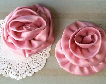 """Dusty Pink Satin Rolled Rose Flowers Rosettes - Set of Two 3"""" Fabric Flowers Applique Satin rose ruffles wholesale flower supplies wedding"""