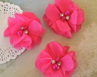 "Hot Pink Mini Chiffon Flowers with rhinestones & pearl centers - Small  2"" Fushia Whitney shabby chiffon layered flowers wholesale flowers"