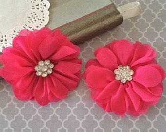 "3"" Fushia Chiffon Ballerina Flowers with Rhinestone Center Scalloped edges layered Hallie flowers DIY wedding bridesmaids baby headband"