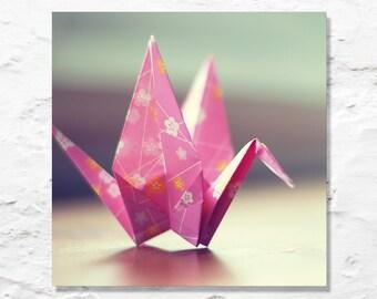 paper crane photo nursery art fine art photography pink origami photograph wall decor