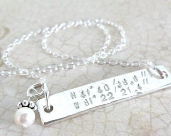 Latitude Longitude Necklace - Sterling Silver Bar Necklace - Horizontal Bar Necklace - Coordinates Necklace - Pearl Accent - CRD101