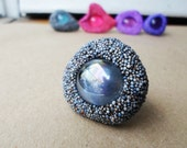 Spazio, ooak adjastable polystyrene and glass ring in shades of grey - blue