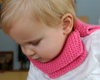 Bright Pink Toddler knit Cowl Scarf Scarflet with button