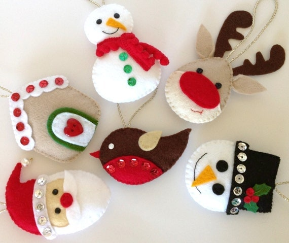 Felt Christmas Ornament. Felt Christmas Decoration. Stocking Stuffer. Felt Santa. Felt Snowman. Felt Reindeer. Felt Robin - Set of 6