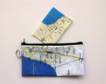 Gift set for travelers with Israel map on it - Travel case zipper pouch and a passport cover both with the map of Jerusalem
