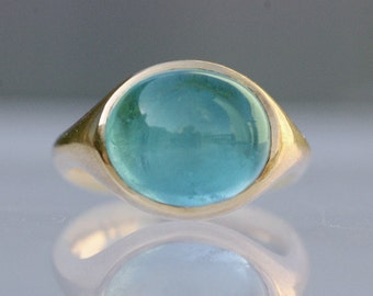Aqua gold ring, statement ring, aquamarine ring, turquoise ring, large cabochon ring, 14k yellow gold (center stone sold separately)