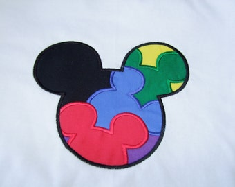 Custom Autism Awareness Mouse head puzzle personalized applique  Infant Toddler shirt